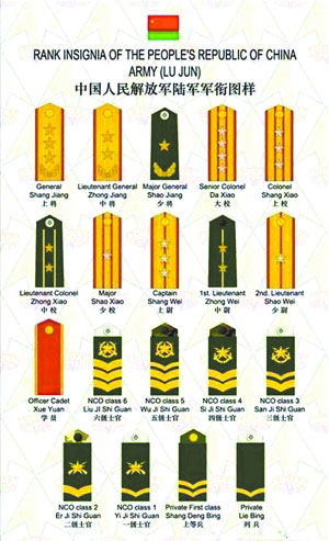 中国人民解放军陆军现行军衔标志图样