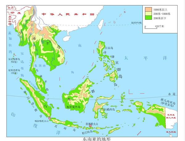 3高考地理重点地图 东南亚地形图