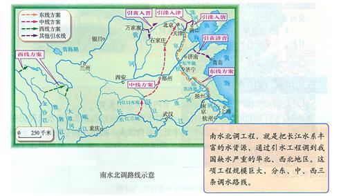 南水北调工程分东,中,西三条调水线路.