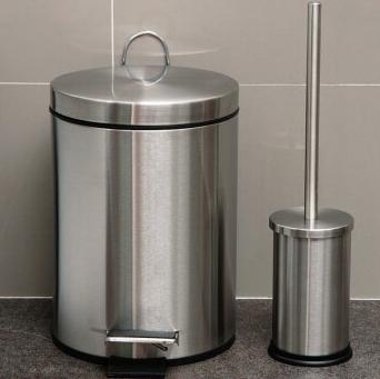 欧润哲 垃圾桶 不锈钢8L圆形垃圾桶 连马桶刷套装