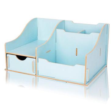 得力deli9117 多功能桌面文具收纳盒木质储物盒化妆盒 蓝色