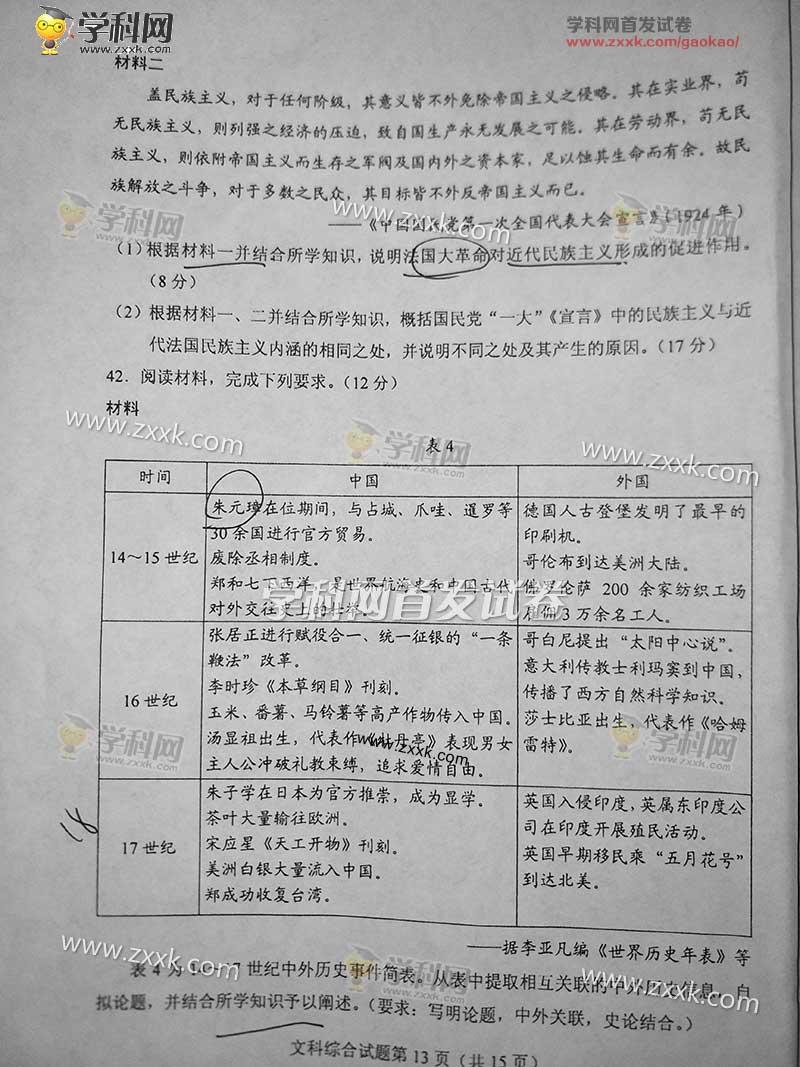 2017年湖北高考文综试题已公布[1]