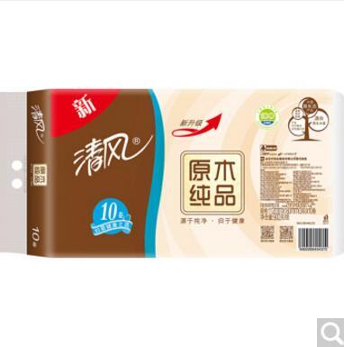 清风APP无芯卷纸 原木纯品 3层90克卫生纸10卷长卷